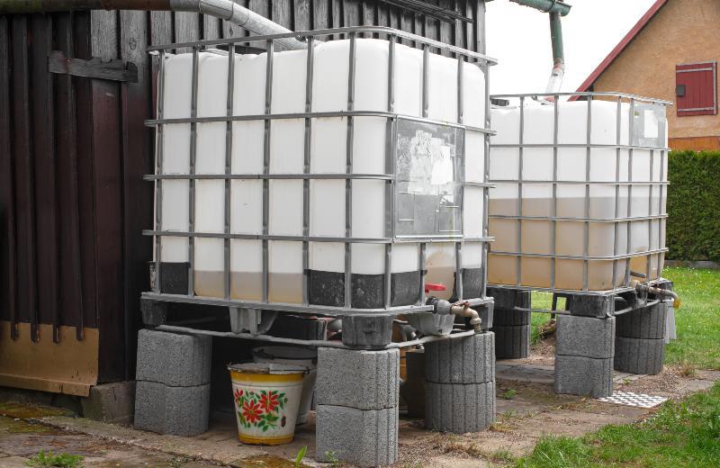 Zwei IBC-Tanks stehen in einem Garten. Sie sind jeweils an ein Fallrohr angeschlossen und werden dazu genutzt, Regenwasser für die Gartenbewässerung aufzufangen.