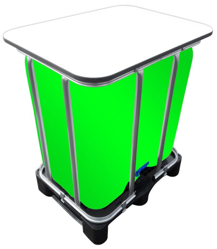 300l IBC LED Kubik® Stehtisch auf PE-Palette IBC Blase ohne Gitter
