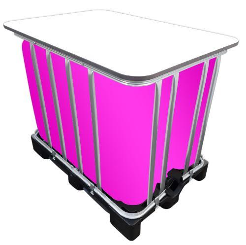 600l IBC LED Kubik® Stehtisch auf GFK-Palette - Leuchtdeko mit LED