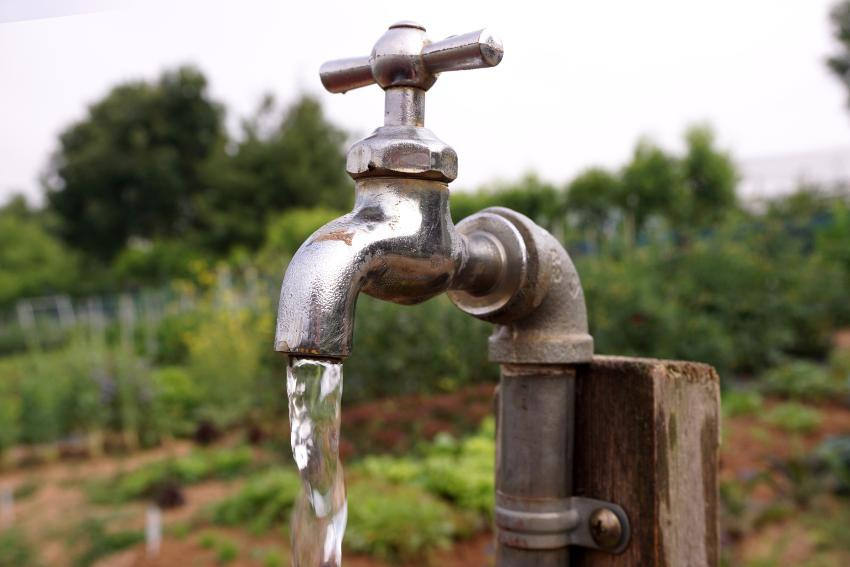 Wasserhahn im Garten, Nahaufnahme