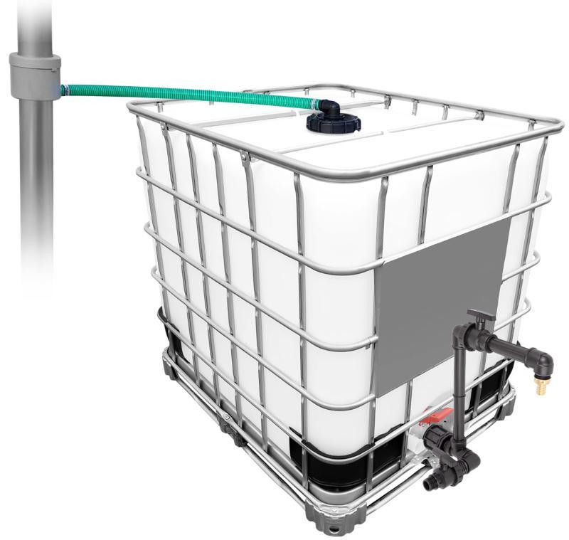 1000l IBC Regenwassertank mit 80m², Schwanenhals + Regenwasserfilteranlage