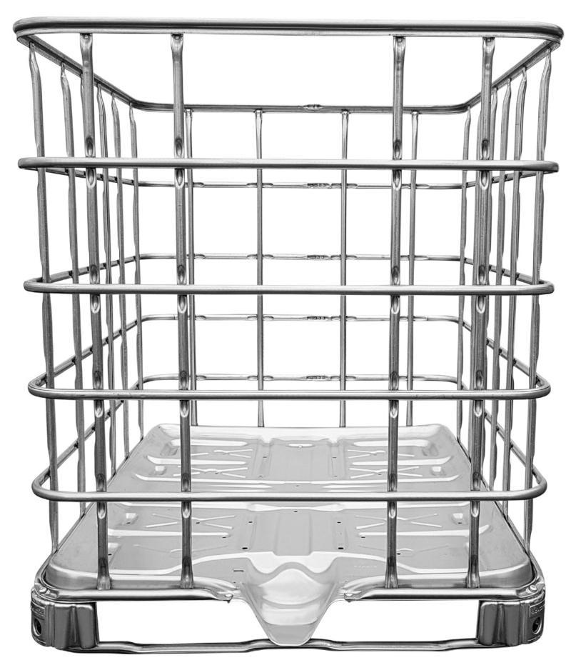 IBC Gitterbox auf Stahlpalette Robuste Gitterboxpalette