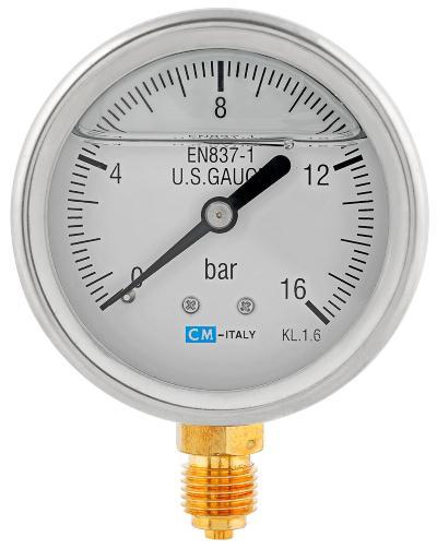 "Manometer radial V2A Glyzerinfüllung 0-16 bar 1/4"" AG - Manometeranschluss"