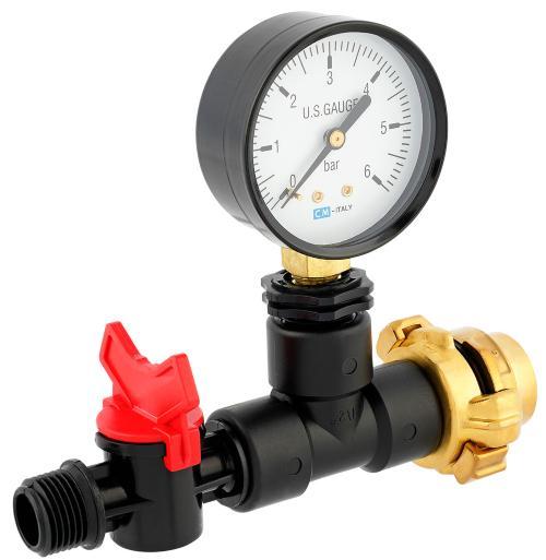 Messgerät mit Manometer für Wassermenge Druck/Durchfluss - Manometeranschluss