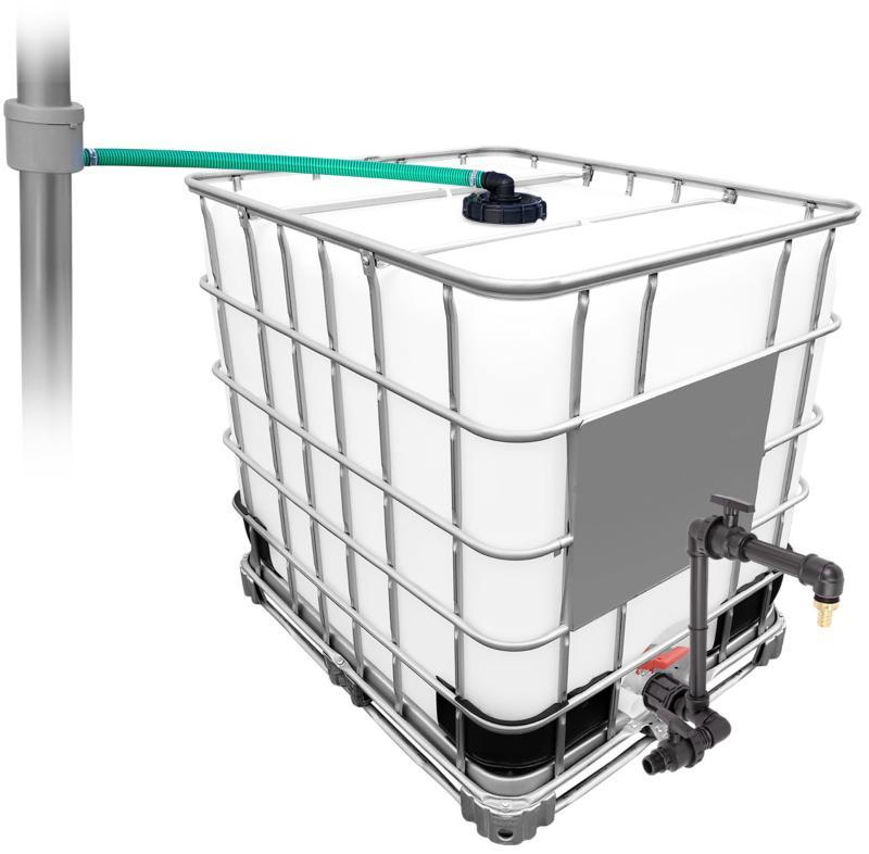 1000l IBC Regenwassertank mit 80m² Fallrohrautomat + Schwanenhals Versenkbare Gartensprenger