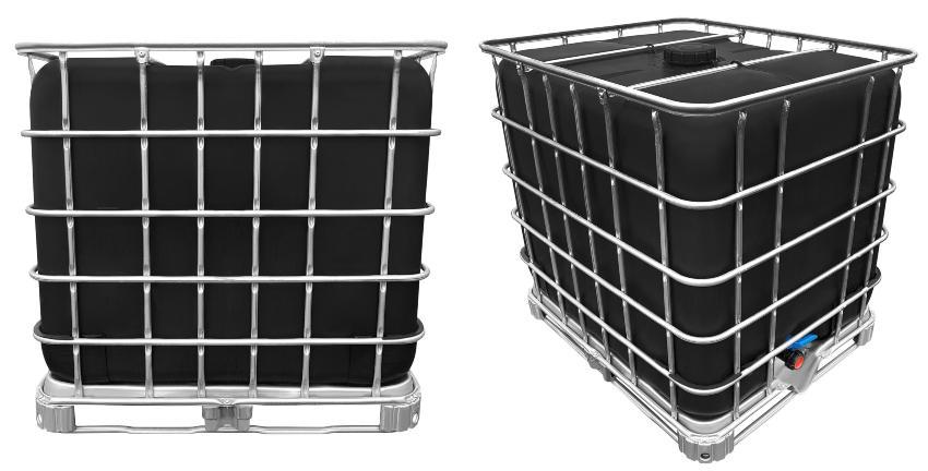 1000l IBC Wassertank SCHWARZ GESPÜLT auf Stahlpalette - IBC Container der 2. Wahl