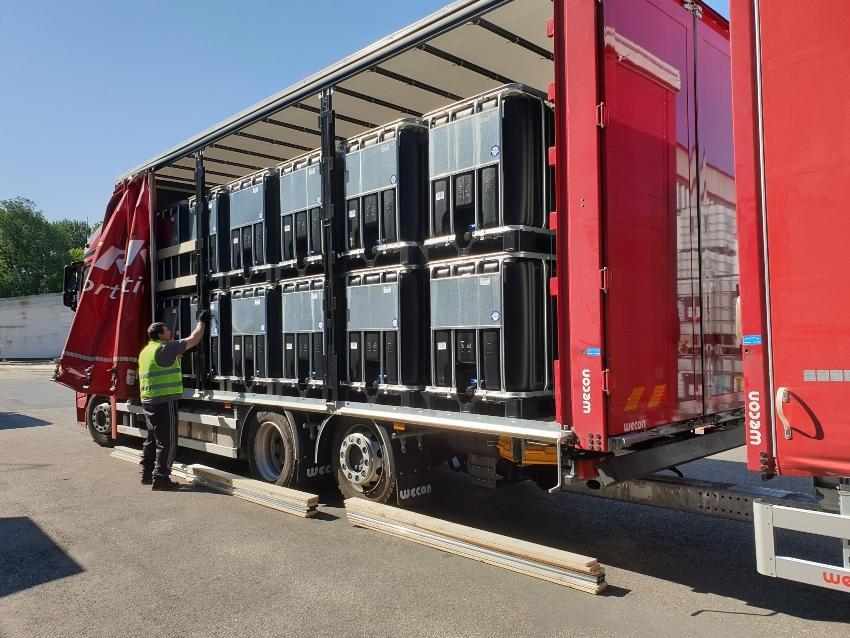 1000l IBC Container, schwarz, auf PE-Palette NEU | lebensmittelecht - Flüssigkeitscontainer