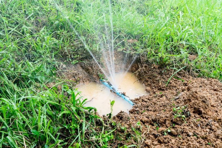 Defekte Wasserleitung im Garten, Wasser spritzt unkontrolliert heraus