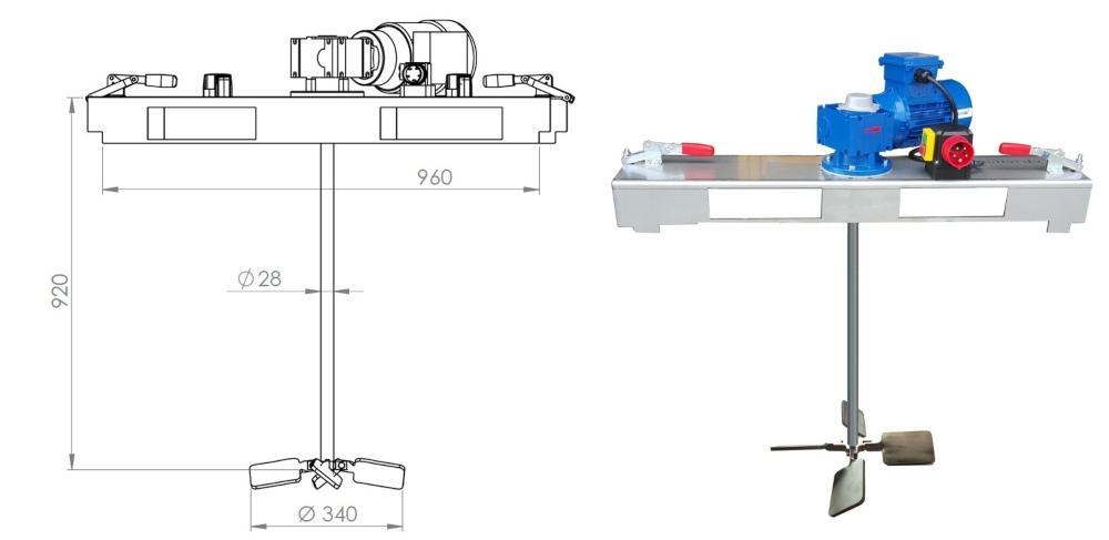 IBC Schneckengetrieberührwerk mit E-Antrieb 2000 m/Pas. - Containermischer für den IBC