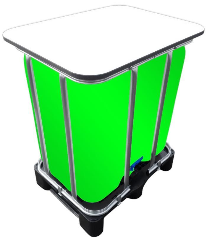 300l IBC LED Kubik® Stehtisch auf GFK-Palette