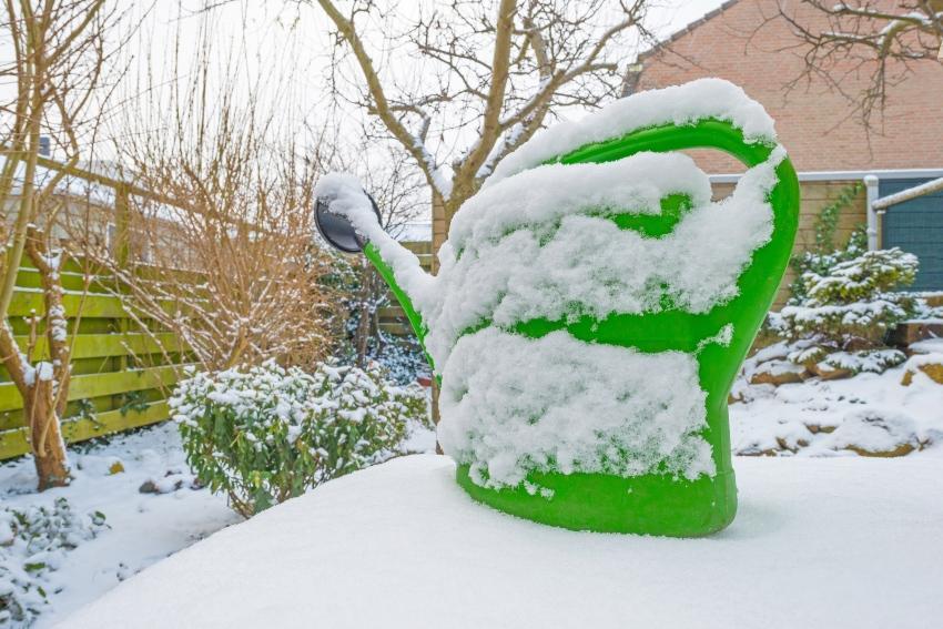 Gießkanne mit Schnee bedeckt - Wintergemüse muss im Winter gewässert werden
