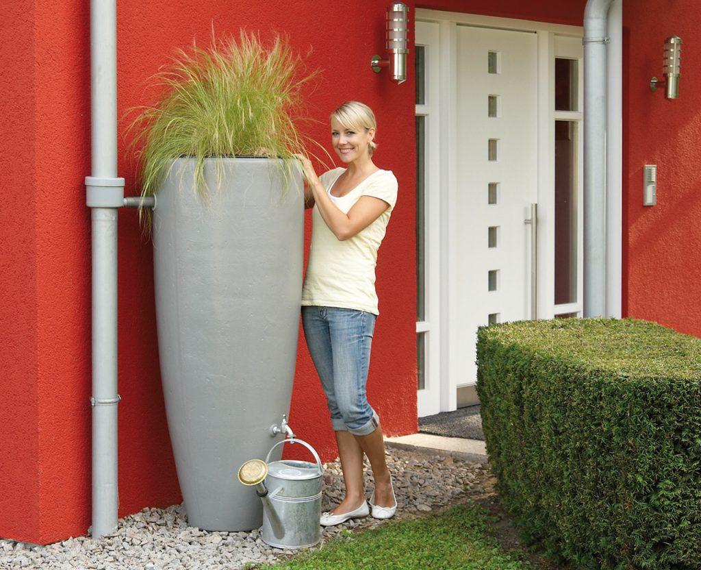 300l Design-Regentonne 2in1 Wasserbehälter mit Pflanzschale - Regenwasserspeicher oberirdisch
