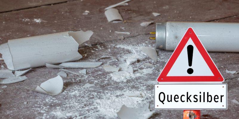 Zerbrochene Leuchtröhre - Gefahrstofflagerung von Kleinmengen