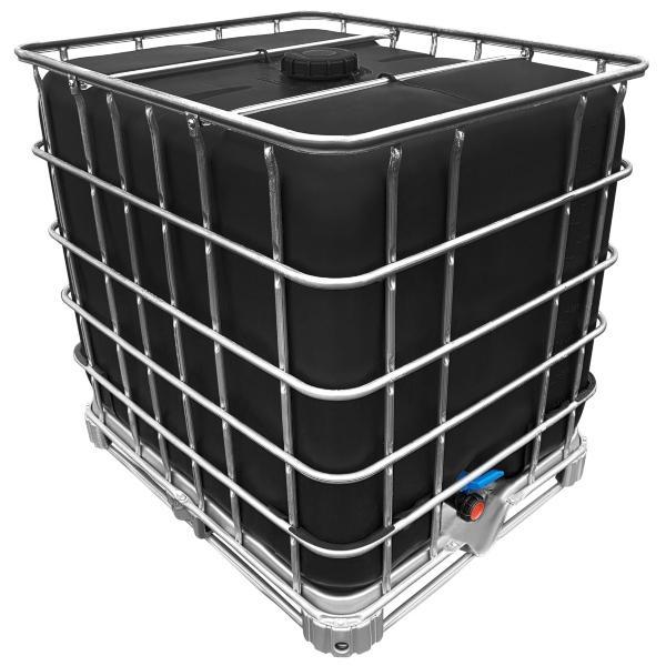 1000l IBC Wassertank SCHWARZ GESPÜLT auf PE- oder Stahlpalette