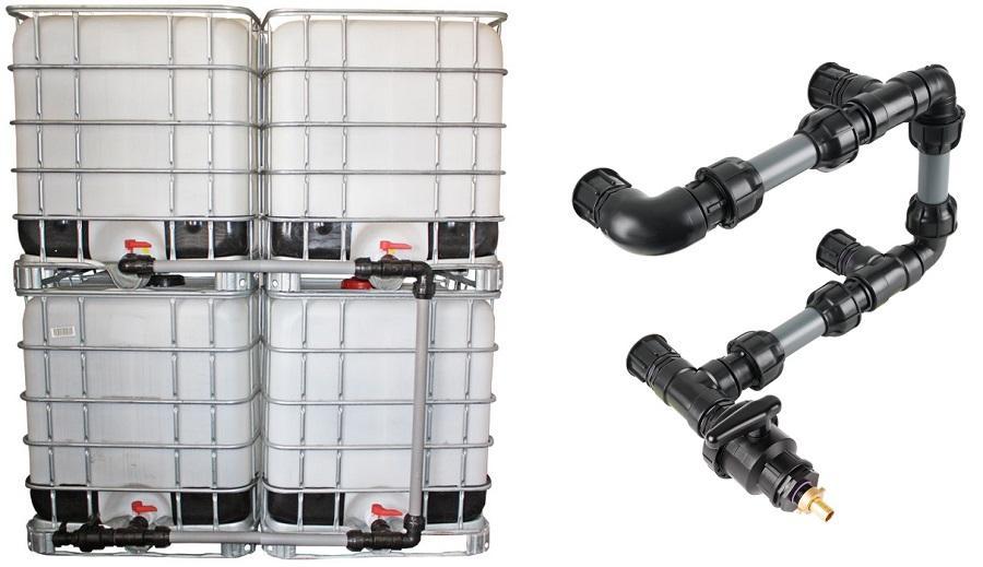 IBC Adapter S60x6 - Tankverbindung 6 IBC neben-/übereinander 50mm Rohr