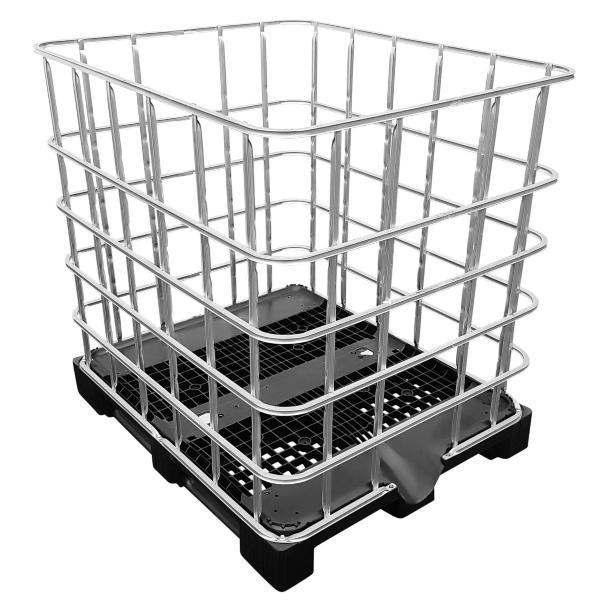 IBC Gitterbox auf Kunststoffpalette