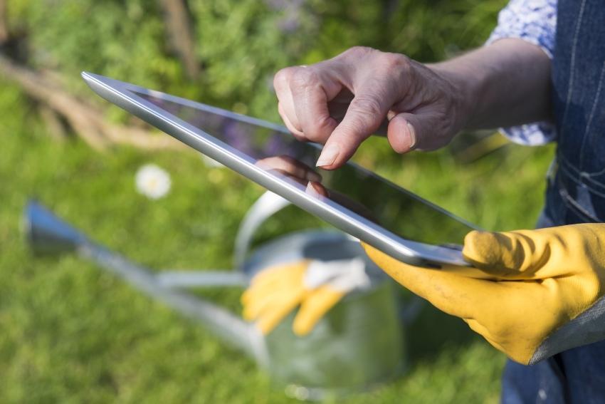 Gärtner mit Computer im Garten - Bewässerung im Smart Garden