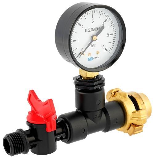 Messgerät mit Manometer für Wassermenge Druck/Durchfluss