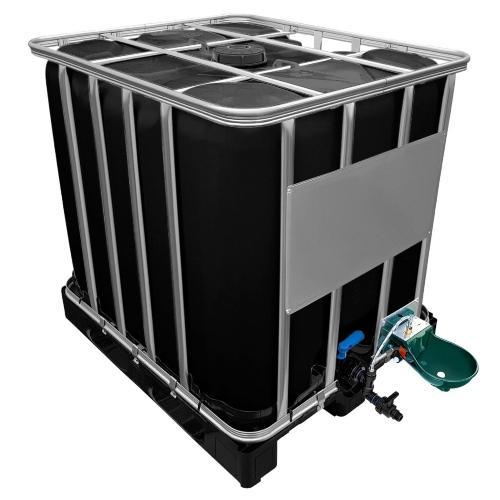 1000l IBC Wassertank in SCHWARZ mit Tränkebecken auf PE-Palette NEU - IBC-Container in Zahlen