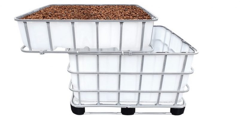 IBC Container mit Pflanzbeet
