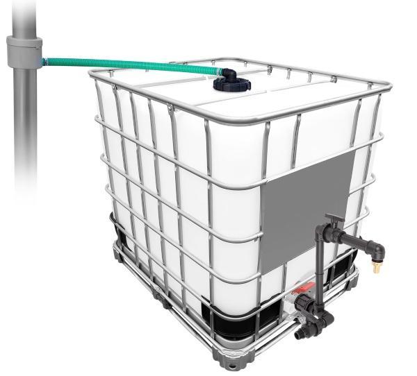 1000l IBC Regenwassertank mit 80m² Fallrohrautomat + Schwanenhals - Regenwasseranlage mit IBC-Technik