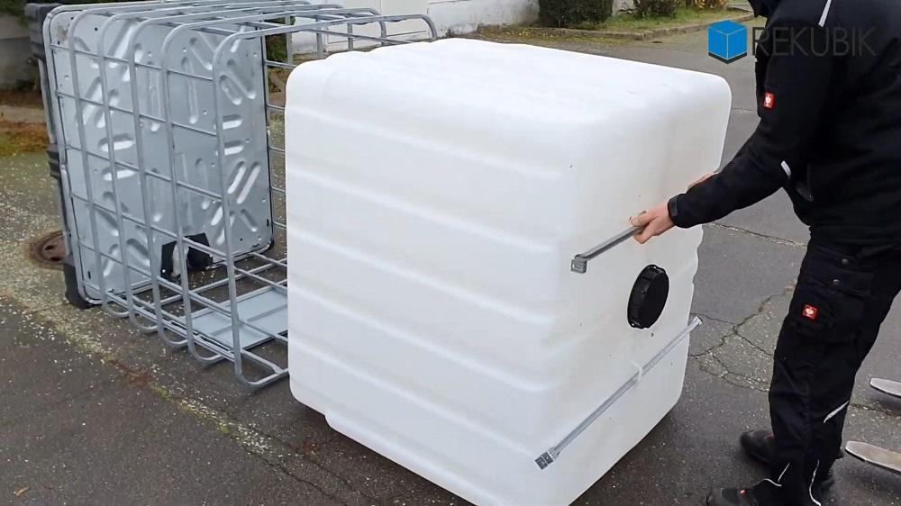 1000l IBC Wassertank auf PE-Palette (FOOD) REBO NEUWERTIG | Leergewicht 65k g