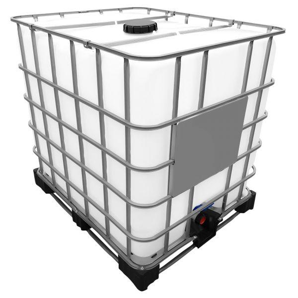 1000l IBC Container REBOTTLED (Neue Blase) auf Stahl/PE-Palette