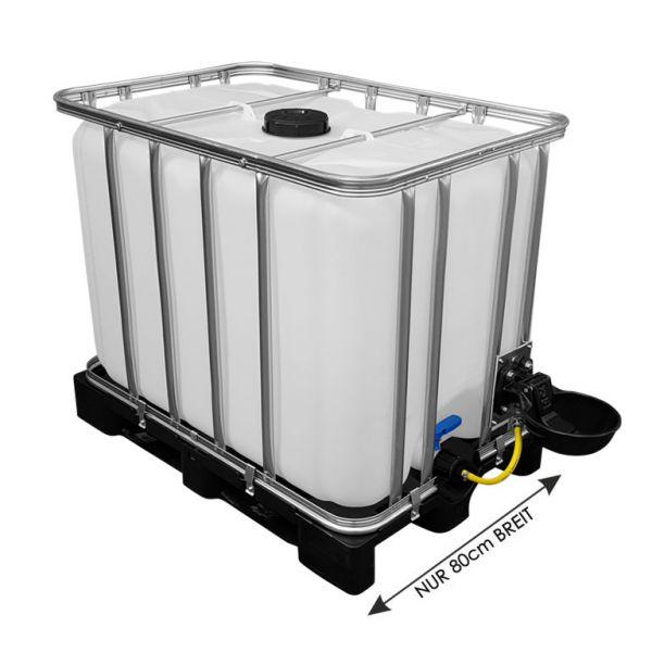 640l IBC Wassertank mit Tränkebecken auf Kunststoffpalette NEU