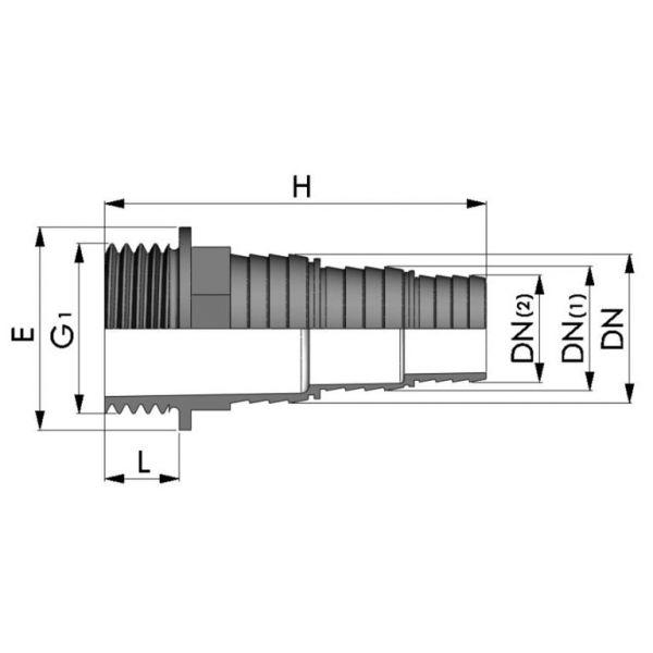Vorschau: PP Stufenschlauchtülle Außengewinde x Tülle 3stufig