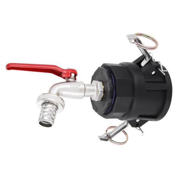 "IBC Container Adapter 2"" Camlock Kamlok Dose (Mutterkupplung) - 3/4"" Kugelhahn Profi Auslaufventil"