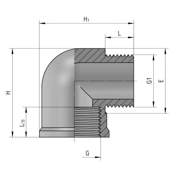 Vorschau: PP Gewindefittings Gewindeverschraubung Winkel 90° Fitting Innengewinde x Außengewinde mit O-Ring