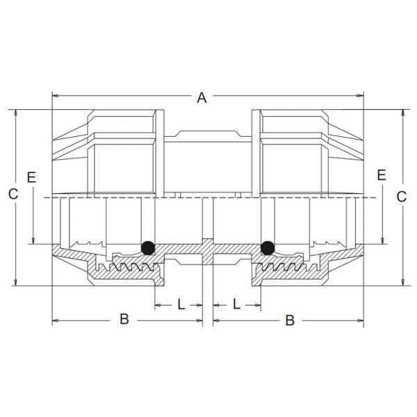 Vorschau: PP Klemmfitting Doppelmuffe 2fach Klemmverbindung