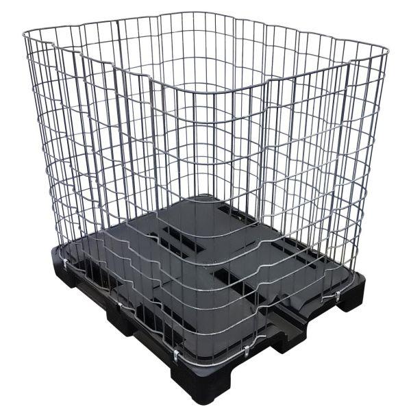 IBC Gitterbox FEINMASCHIG auf Kunststoffpalette