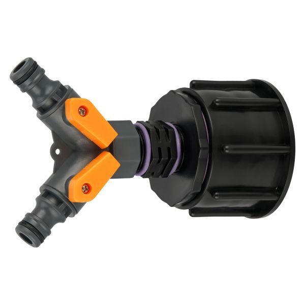 "IBC Adapter S60x6 (60mm) Grobgewinde DN50 - PROFI 2-Wege-Ventil Hahn ""GARDENA"" kompatibel"