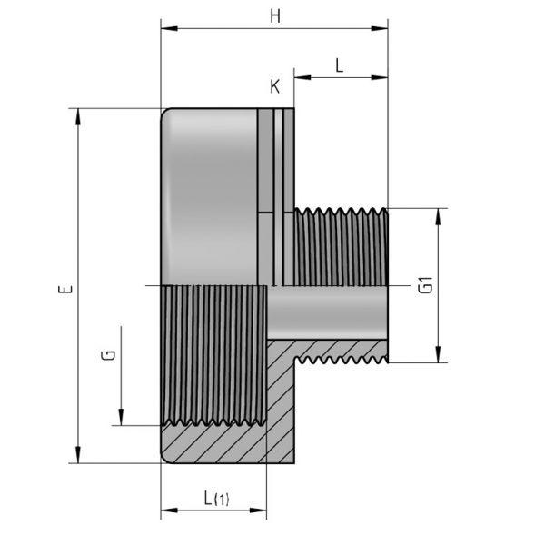 Vorschau: PP Gewindefittings Gewindeverschraubung Reduzierung Fitting Außengewinde x Innengewinde
