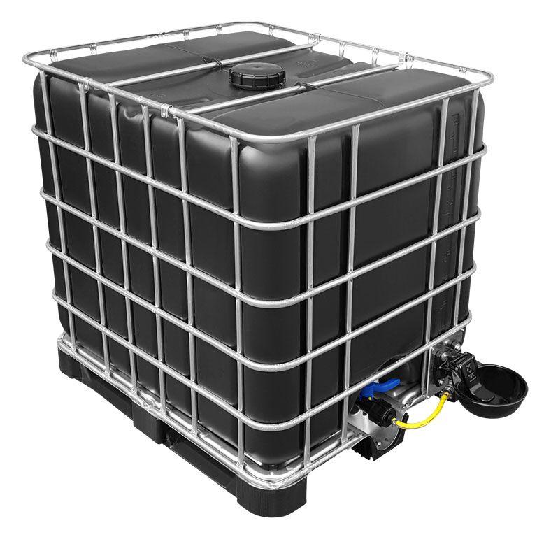 1000l IBC Wassertank in SCHWARZ (UV-Schutz) mit Tränkebecken auf ...