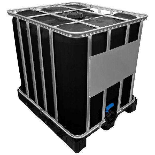 1000l IBC Wassertank GESPÜLT SCHWARZ auf Kunststoffpalette