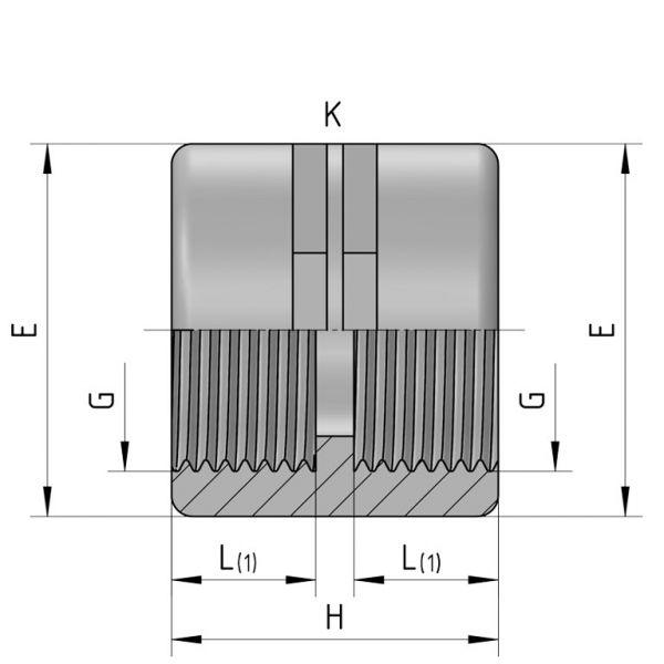Vorschau: PP Gewindefittings Gewindeverschraubung Doppelmuffe Fitting 2x Innengewinde mit O-Ring