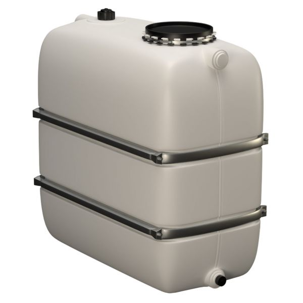 1100l Lagertank (Bandagen) mit Einlauf/Auslaufstutzen & Domöffnung weiß
