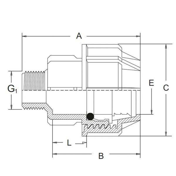 Vorschau: PP-Klemmfitting Klemmverschraubung Muffe Übergangsmuffe PE-Rohr Klemmverbindung x Außengewinde