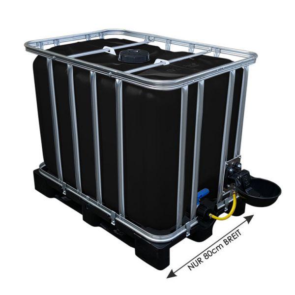 600l IBC Wassertank in SCHWARZ mit Tränkebecken auf PE-Palette NEU