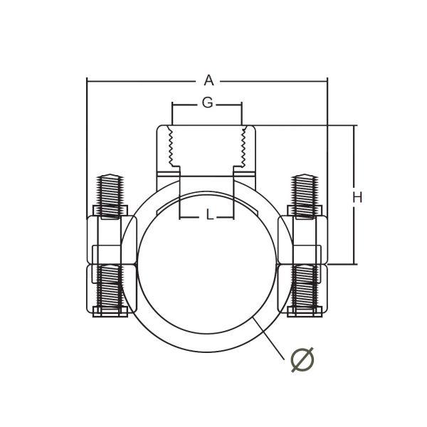 Vorschau: Anbohrschelle Gewindeteil mit Innengewinde mit Verstärkungsring