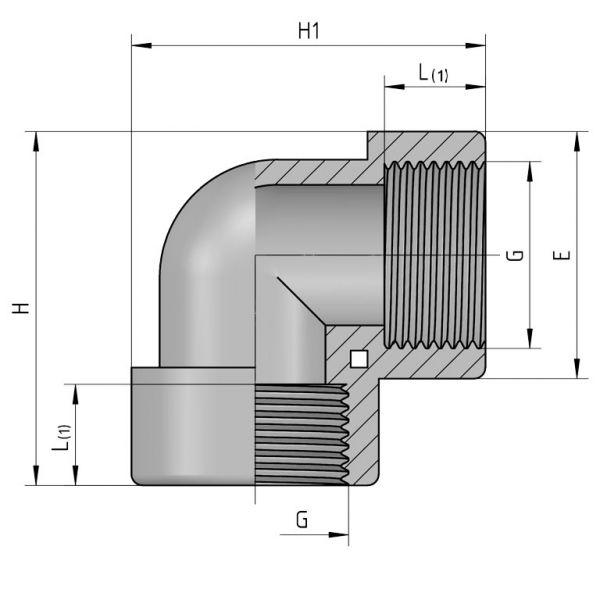 Vorschau: PP Gewindefittings Gewindeverschraubung Winkel 90° Fitting 2x Innengewinde mit O-Ring