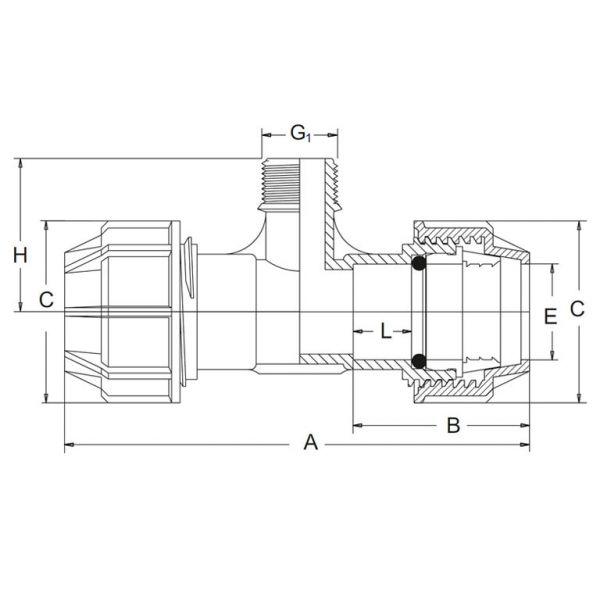 Vorschau: PP-Klemmfitting Klemmverschraubung T-Stück Klemmverbindung PE-Rohr Klemmfitting x Außengewinde