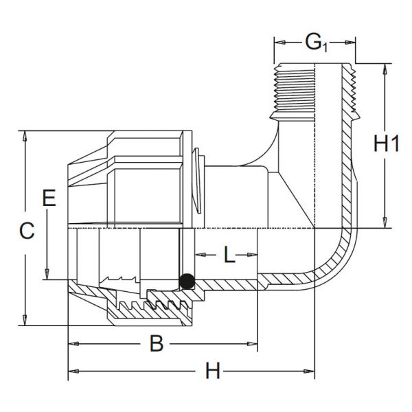 Vorschau: PP-Klemmfitting Rohr Winkel 90° Klemmverbindung x Außengewinde x Klemmverbindung