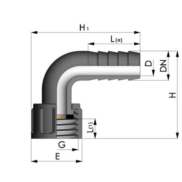 Vorschau: PP Schlauchtülle 90° Winkel Tülle mit Überwurfmutter Innengewinde x Tülle und EPDM Flachdichtung