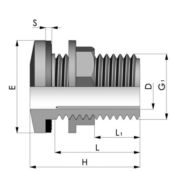 Vorschau: Tankdurchführung Schottverschraubung Anschlag x Außengewinde