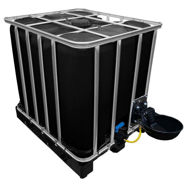 1000l IBC Wassertank in SCHWARZ auf Kunststoffpalette mit Tränkebecken NEU