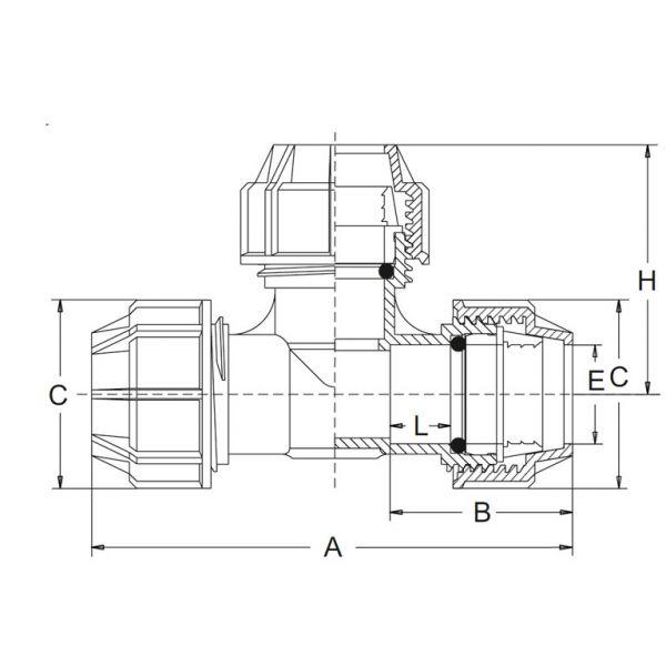 Vorschau: PP-Klemmfitting T-Stück Klemmverbindung Kupplung 3fach Klemme