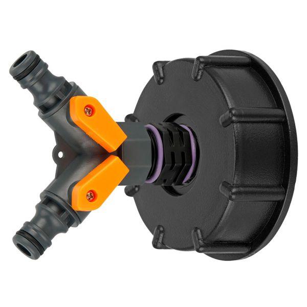 "IBC Adapter S60x6 (60mm) Grobgewinde DN 50 - 2-Wege-Ventil Hahn ""GARDENA"" kompatibel"